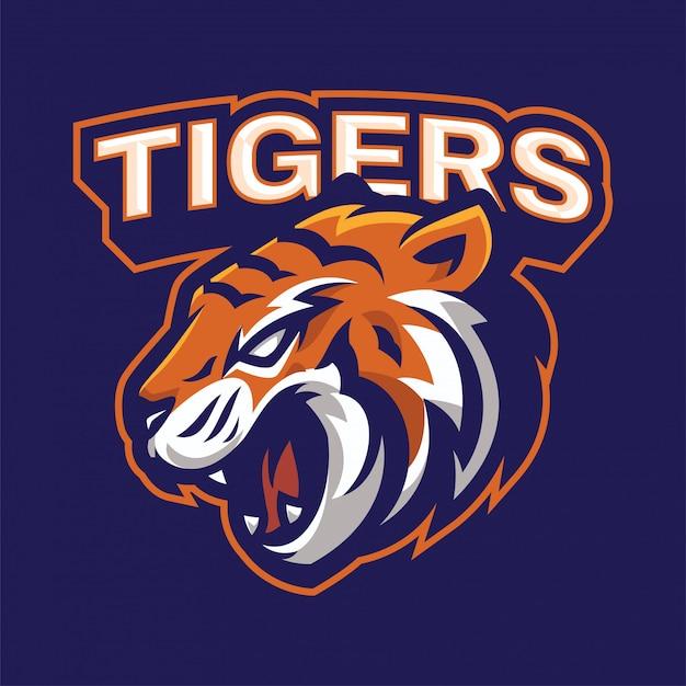 Boos tijger mascotte logo Premium Vector