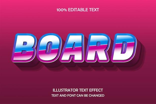 Bord, bewerkbaar teksteffect, blauwroze reliëfstijl Premium Vector
