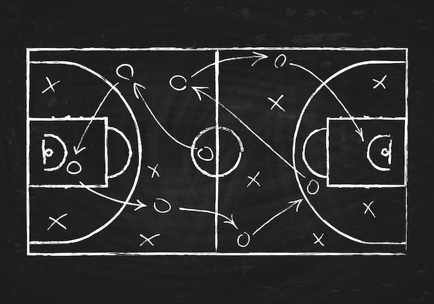 Bord met basketbalhof en spelstrategie regelingillustratie Premium Vector
