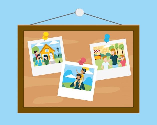 Bord met foto's in family day Gratis Vector