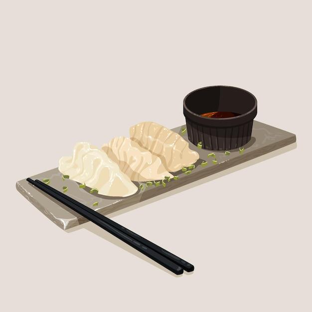 Bord met gyozas en eetstokjes in plat design Gratis Vector