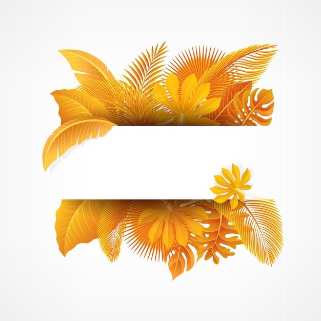 Bord met tekst ruimte van gele tropische bladeren Premium Vector