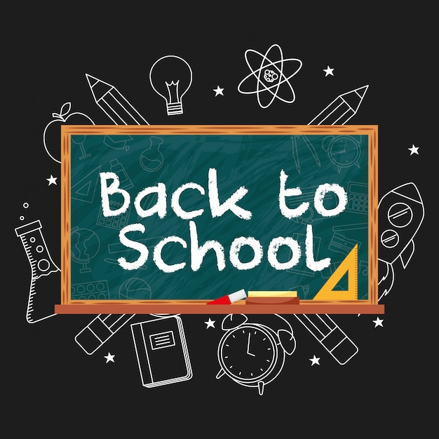 Bord met terug naar schoolbericht Premium Vector