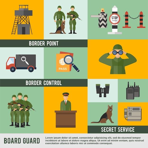 Border guard icon flat Gratis Vector