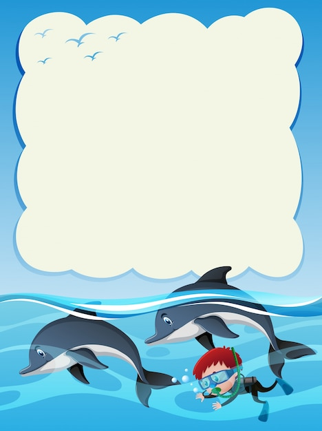 Border template met jongens duiken met twee dolfijnen Premium Vector