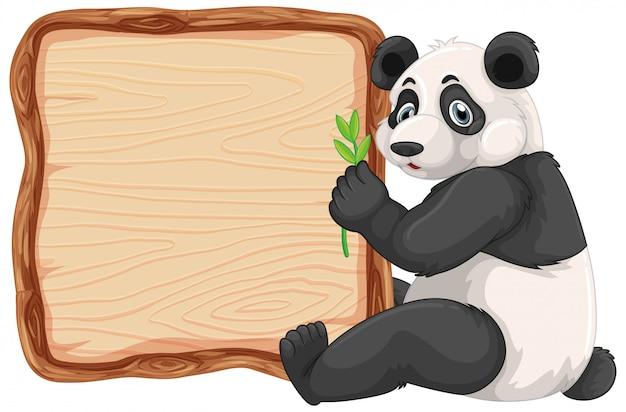 Bordsjabloon met schattige panda op witte achtergrond Gratis Vector