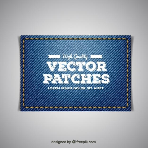 Borduren jeans patch Gratis Vector