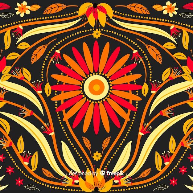 Borduurwerk floral achtergrond platte ontwerp Gratis Vector