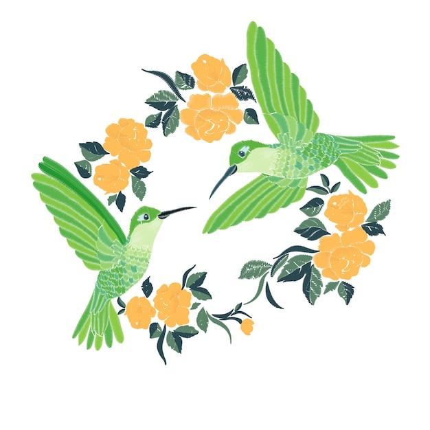 Borduurwerk met kolibrie en orchideebloemen vectorillustratie. Premium Vector