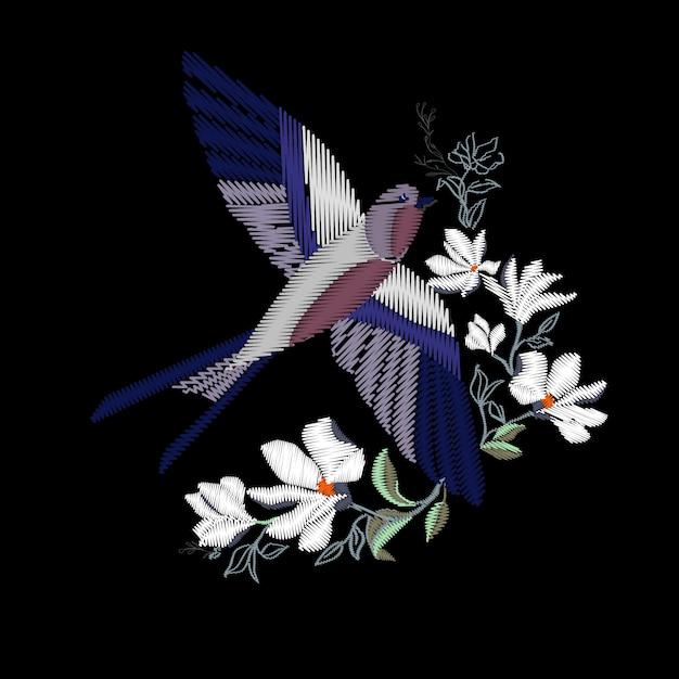 Borduurwerk met prachtige zwaluwvogels. borduurwerk voor mode textiel en stof. Premium Vector