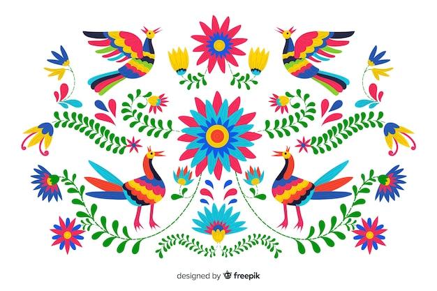Borduurwerk mexicaanse bloemenachtergrond Gratis Vector
