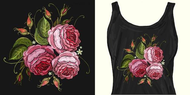 Borduurwerk. mooie roze rozen Premium Vector