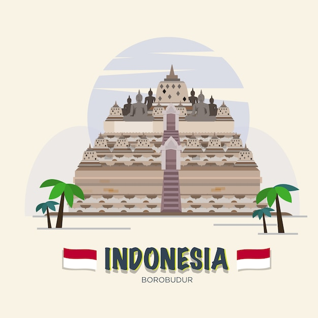 Borobudur. indonesië landmark. asean set. Premium Vector