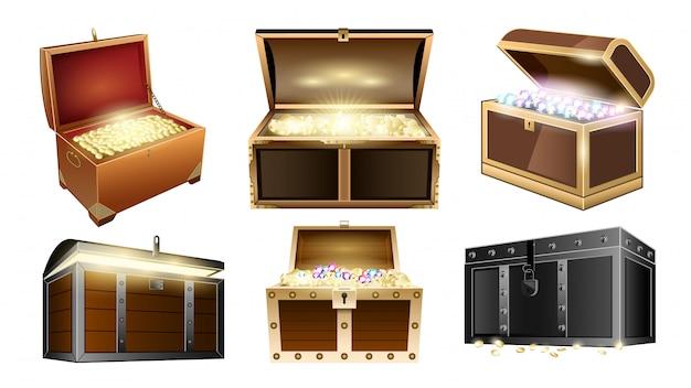 Borst schat realistische set icoon. illustratie op houten kist van goud witte achtergrond. geïsoleerde realistische set pictogram borst schat. Premium Vector