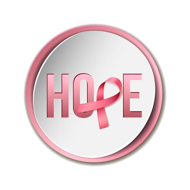Borstkanker bewustzijn concept met tekst hoop en realistisch roze lint. illustratie Premium Vector