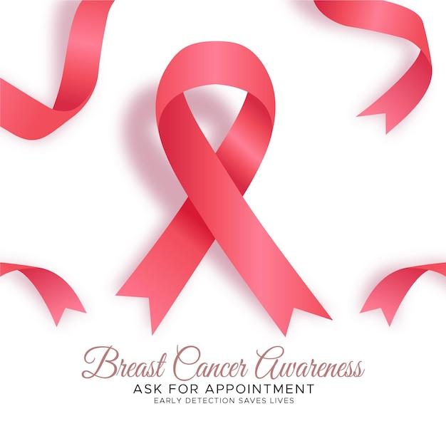 Borstkanker bewustzijn maand achtergrond met lint Premium Vector
