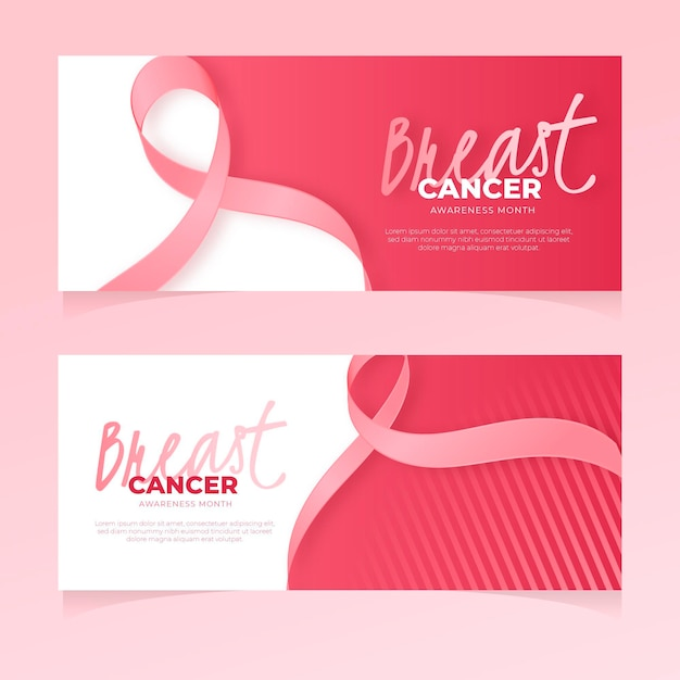 Borstkanker bewustzijn maand banner Premium Vector