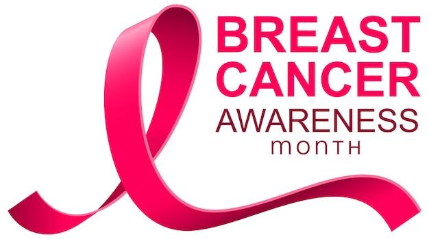 Borstkanker bewustzijn maand roze lint sjabloon tekstbanner. Premium Vector