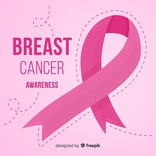 Borstkanker bewustzijn met roze lint Gratis Vector