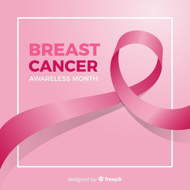 Borstkankerbewustzijn met realistisch lint Gratis Vector