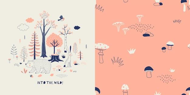 Bos dieren in het wild kinderachtig mode textiel afbeeldingen set Premium Vector