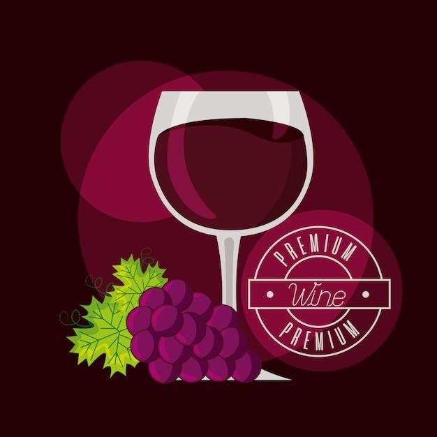 Bos druiven vat en wijn beker Gratis Vector