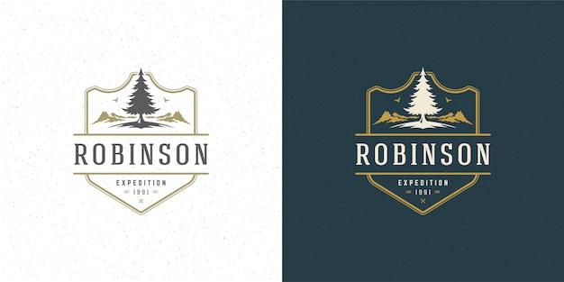 Bos kamperen logo embleem outdoor avontuur vrije tijd vector illustratie berg- en dennenboom Premium Vector