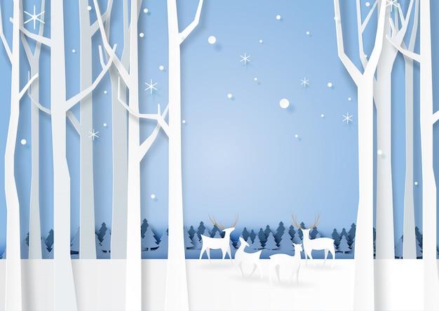 Bos silhouet en herten wildlife achtergrond Premium Vector