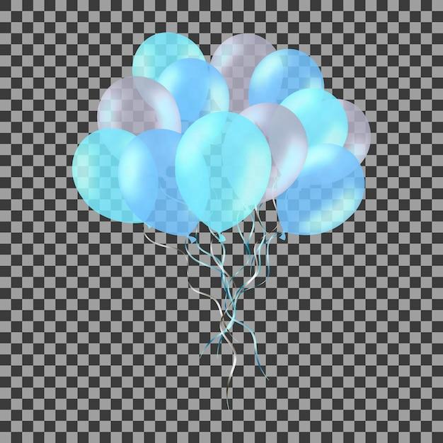 Bos van kleurrijke blauwe heliumballons die op transparant worden geïsoleerd. Premium Vector