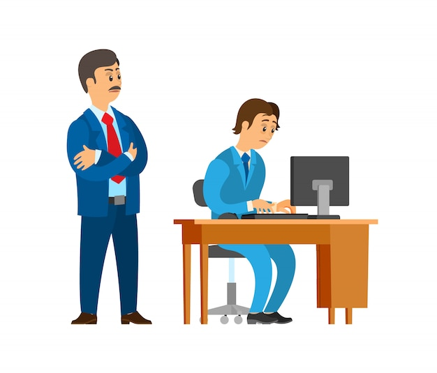Boss company leader supervising new office worker Premium Vector