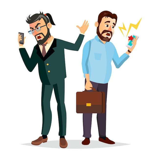 Boss shouting on phone-illustratie Premium Vector