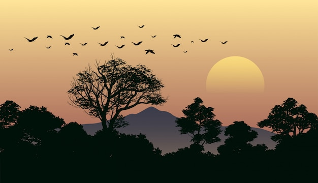 Boszonsonderganglandschap met vliegende vogels Premium Vector
