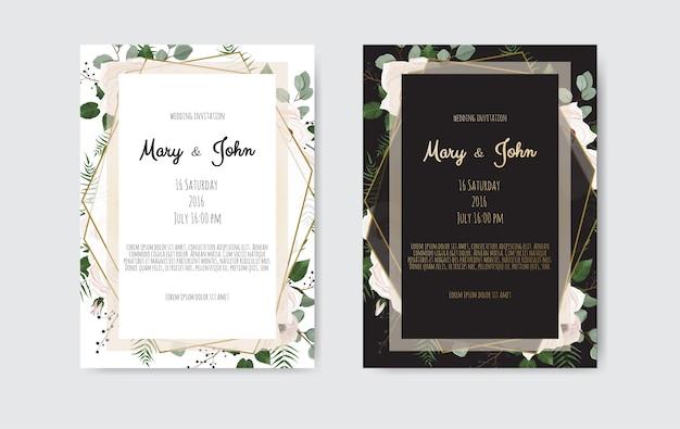Botanisch de kaartontwerp van de huwelijksuitnodiging, witte en roze bloemen. Premium Vector