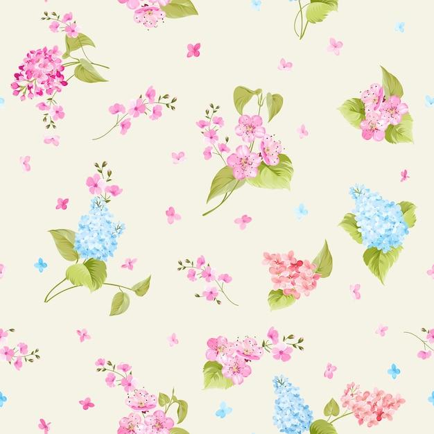 Botanisch naadloos patroon. bloeiende lila bloem. Gratis Vector