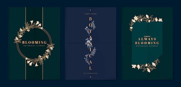 Botanische bloemenkaartenset Gratis Vector