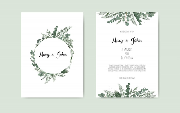 Botanische bruiloft uitnodiging kaartsjabloon ontwerp Premium Vector