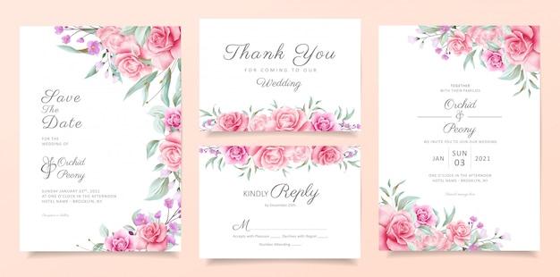 Botanische bruiloft uitnodigingskaart sjabloon set met zachte aquarel bloemen en bladeren Premium Vector