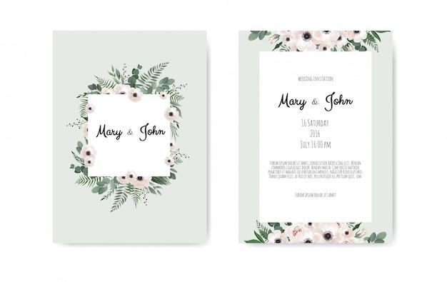 Botanische bruiloft uitnodigingskaart Premium Vector