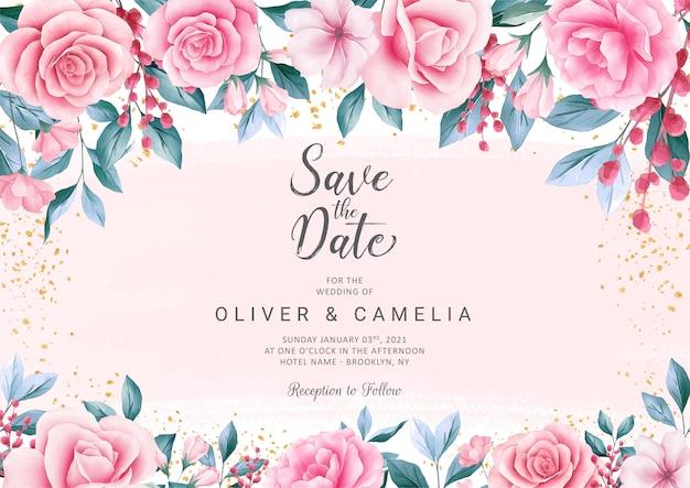 Botanische bruiloft uitnodigingskaartsjabloon met prachtige aquarel bloemendecoratie Premium Vector