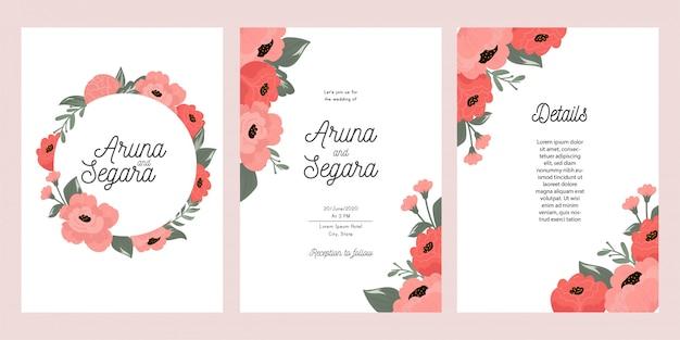 Botanische bruiloft uitnodigingskaartsjabloon Premium Vector