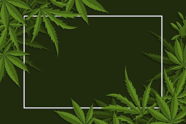 Botanische cannabis blad achtergrond Gratis Vector