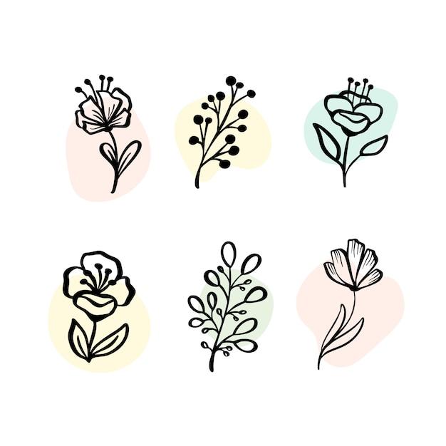 Botanische elementen instellen Premium Vector