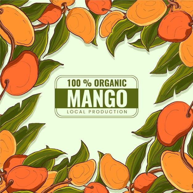 Botanische mangoboom illustratie Gratis Vector