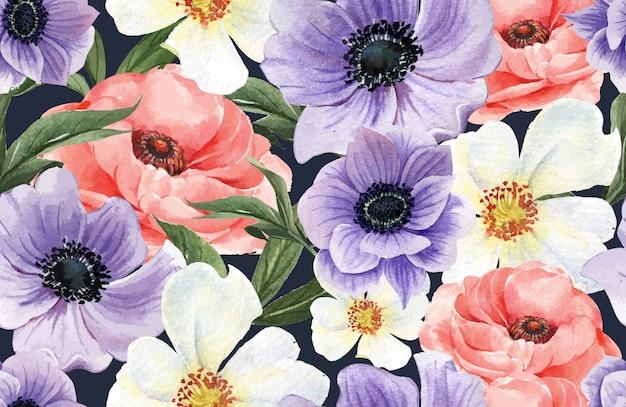 Botanische patroon bloem aquarel, bedankt kaart, textieldruk illustratie Gratis Vector