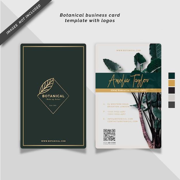 Botanische visitekaartjesjabloon Premium Vector