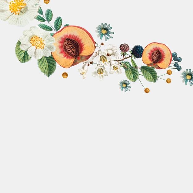 Botanische zijrand met perziken Gratis Vector