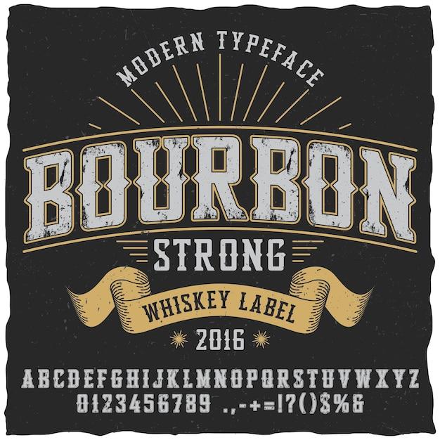 Bourbon whisky lettertype poster voor gebruik in labels in vintage stijl Gratis Vector