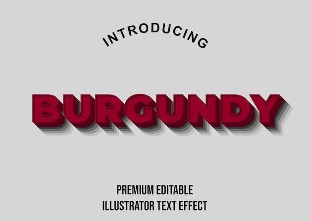 Bourgondië - 3d-tekststijl lettertype-effecten Premium Vector