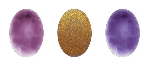 Bourgondië, gouden glitter en paarse ovale aquarel frames Premium Vector
