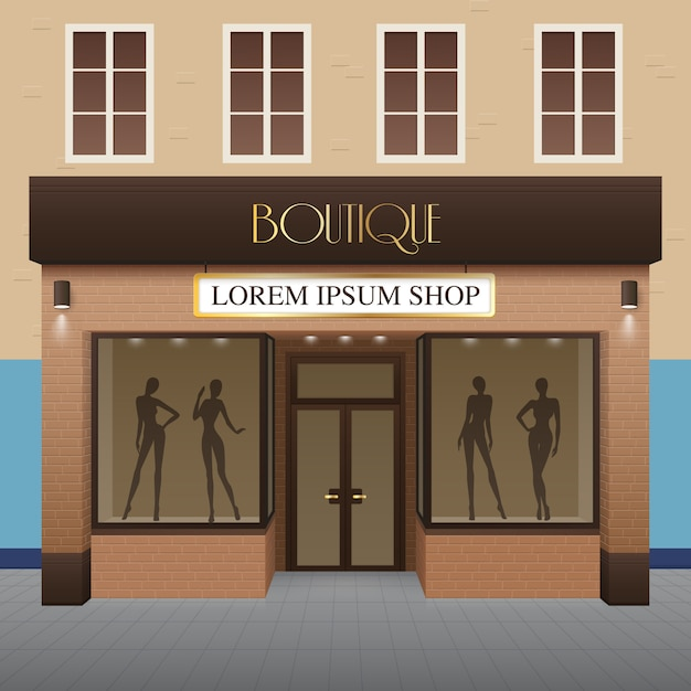 Boutique gebouw illustratie Gratis Vector